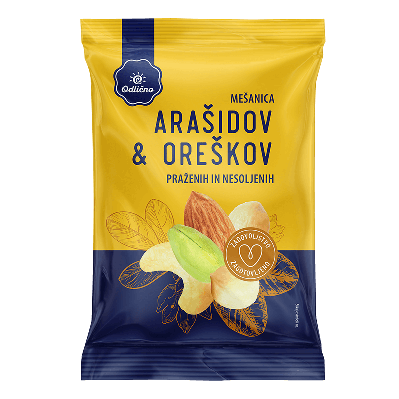 Mixed peanuts & nuts, roasted and unsalted Odlično, 150 g