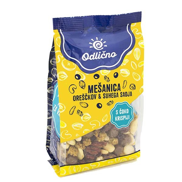 Mixed nus & dried fruit with chocolate covered crispies Odlično, 200 g