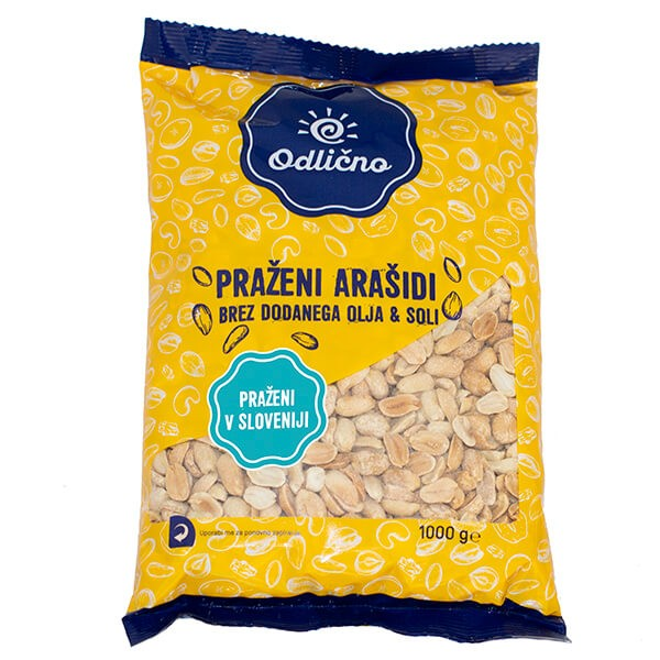 Roasted & unsalted Peanuts Odlično, 1000 g